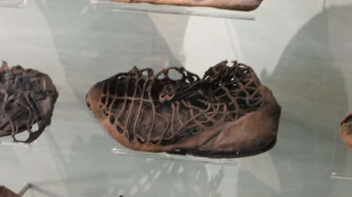 Although the museum contains many treasures, the simpler things often impress the most.  The boggy ground has preserved leather very well, from sandles ...