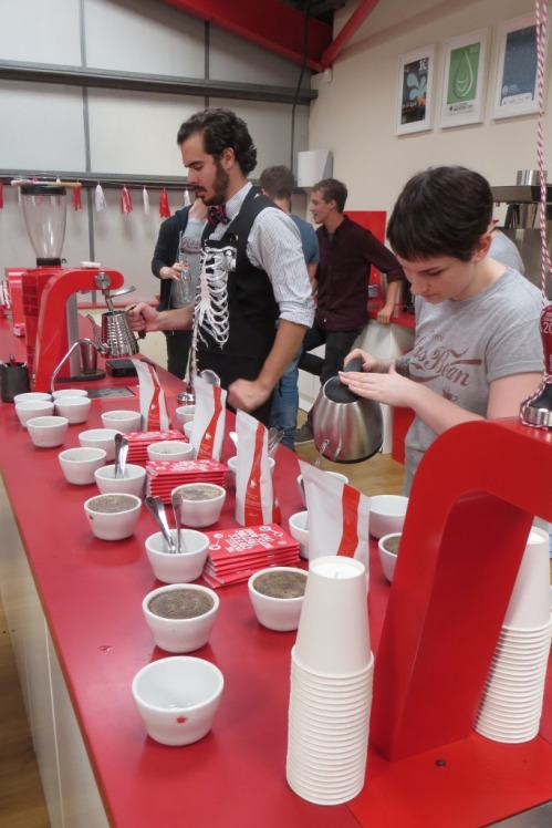 The Has Bean team setting up a cupping session
