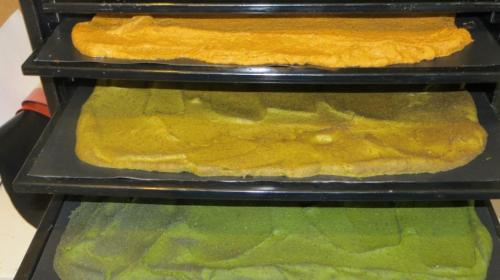 We made enough to fill 8 of the 9 trays in the Excalibur, including some more carrot and cumin ...