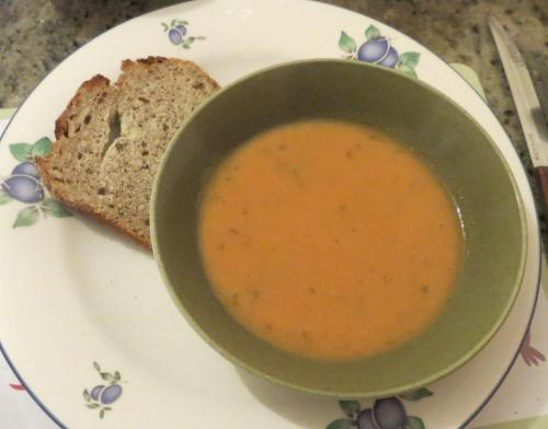 Vitamix soup and Magimix buckwheat sourdough for lunch.